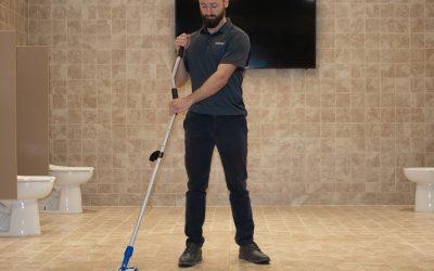 Speed Scrubber on Restroom Floor 3110